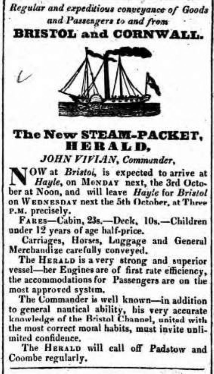 An early advertisement for the Hayle-Bristol steam packet service operated by the Herald. (courtesy Morrab Library)