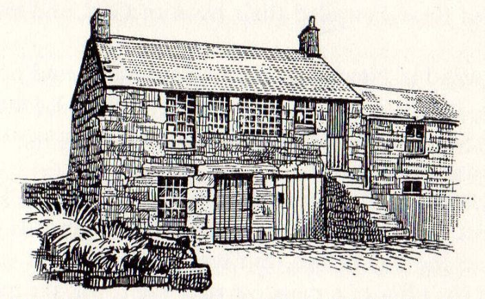 "The first St Just Wesleyan Meeting House, established 1743. The building still stands today and is now a private house. (From John Pearce's  ""The Wesleys in Cornwall"")"