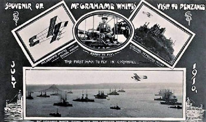 Commemorative postcard of Grahame-White's first flight in Cornwall (via Michael Potter on FaceBook)